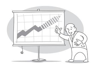 Old economist presens growth forecasts chart on whiteboard. Cartoon vector illustration