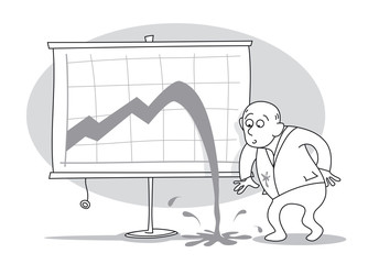 Old businessman looking surprised at the graph of the growth curve and can not believe that a crisis has occurred. Cartoon vector illustration