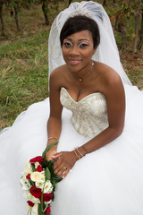 Beautiful African American woman bride smiling ready for her wedding