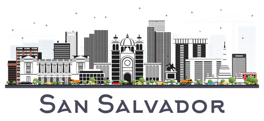 San Salvador City Skyline with Gray Buildings Isolated on White.