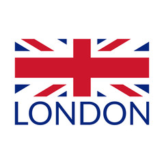 London typography design with UK flag. London banner, poster, sport t-shirt print design and apparels graphic. Vector illustration.