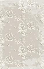 Vintage retro roses damask pattern Vector. Luxury ornament background floral decoration. Pastel color old grunge effects
