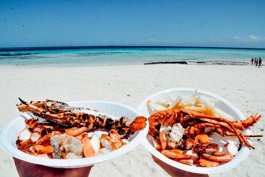Seafood seafruit on the paradise beach island white sand blue ocean sea
