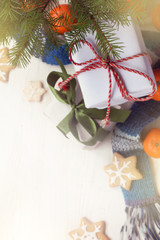 Waiting for Christmas/ evergreen tree on a background of blurred outlines of gifts beneath a top view