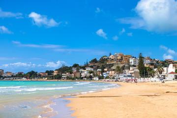 Public beach near The Scala dei Turchi. Realmonte, near Porto Empedocle, southern Sicily, Italy.