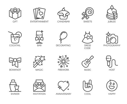 Set of 20 linear icons on theme of music, parties, entertainment, events. Graphical web elements. Outline logos. Vector