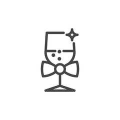 Champagne glass line icon. Alcoholic drink for wedding, birthday, Christmas and other holidays and parties. Vector