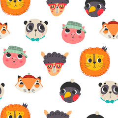 Cute animal faces. Colored vector seamless pattern