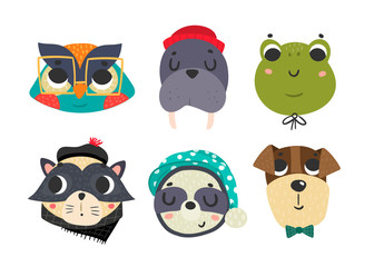 Cute animal avatars. Colored vector set. All elements are isolated