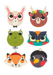 Forest animals. Cute animal faces. Colored vector set. All elements are isolated