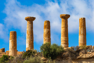 Valley of the Temples (Valle dei Templi) - valley of an ancient Greek Temple ruins built in the 5th century BC, Agrigento, Sicily, Italy.