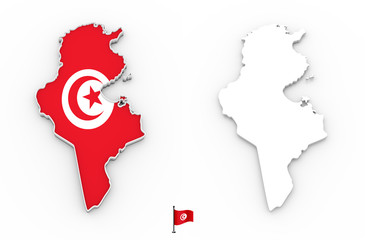 3D map of Tunisia white silhouette and flag