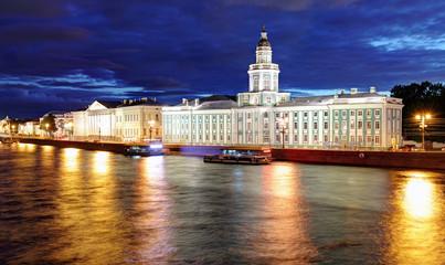 Kunstkamera building at night, Saint Petersburg, Russia