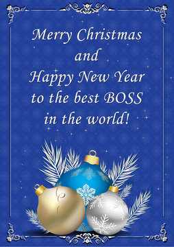Merry Christmas and Happy New Year to the best boss in the world. Light blue corporate greeting card for the New Year celebration.