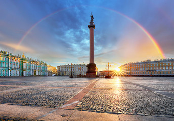 Foto auf Acrylglas Lavendel Saint Petersburg with rainbow over winter palace square, Russia