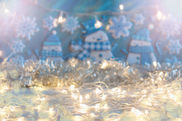 Christmas and New Year background in blue and silver colors