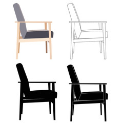set of chairs, silhouette