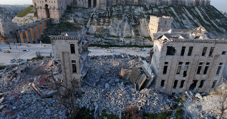 city of Aleppo in aerial view, filmed by a drone, syria