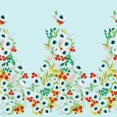 Seamless border in small cute flowers of poppy. Millefleurs. Shabby chic. Floral background for textile, wallpaper, covers, surface, print, wrap, scrapbooking, decoupage.