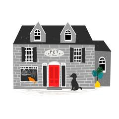 Pet shop building. Hand drawn vector illustration