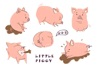 Cute little piggies. Colored vector set. All elements are isolated