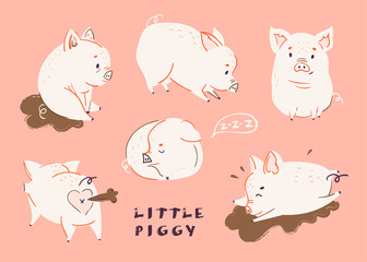 Cute pigs. Colored vector set. All elements are isolated. Pink background