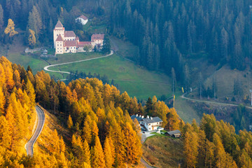 Tyrolean castle with peacky red roofs