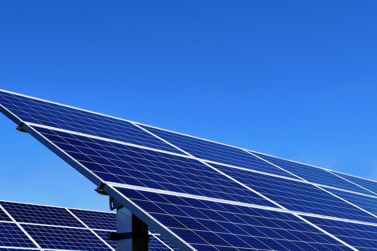 Solar panel close up with clear blue sky. Copy space.