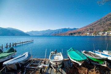 Clear sky with panorama lake view with duck boats and mountain background in Autumn season at Lake Chuzenji, Nikko tochigi Prefecture, Japan