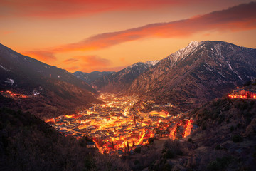 Wall Mural - Andorra la Vella skyline at sunset Pyrenees