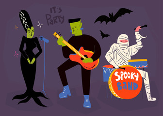Halloween music artists. Hand drawn vector set. All elements are isolated