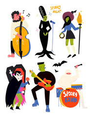 Various spooky music artists. Halloween hand drawn vector set. All elements are isolated