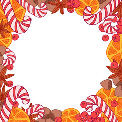 Christmas round frame with candies, berries, oranges, nuts and spice