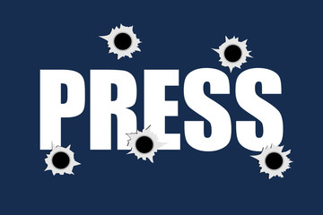 Bullet holes on the PRESS sign as metaphor of Killing, shooting and murdering of journalist and reporter. Journalism and press as dangerous profession.
