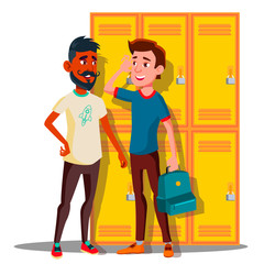 Teenagers Near Lockers In College Vector. Isolated Illustration