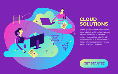 Flat design illustration for presentation, web, landing: businessman and businesswoman working with cloud service.