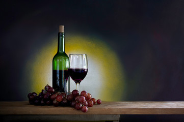 Grape and wine in glass and bottle on the plank in dim light room