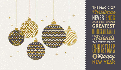 Christmas greeting card - patterned golden baubles on a snowy white background and type design greeting. Vector illustration.