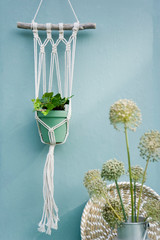 Do it yourself, Makramee attachment, ivy, braided tray, leek blossom