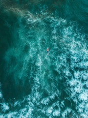Indonesia, Bali, Aerial view of surfer