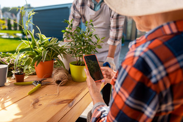 Photo of plant. Modern elderly lady wearing red squared shirt holding her smartphone making photo of nice home plant