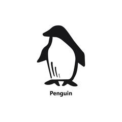 Penguin symbol black on white background text smooth