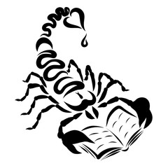 Scorpion with a heart on the tail and a drop, reads a book, black pattern