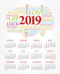 2019 year calendar, greeting word cloud collage, Happy New Year celebration background