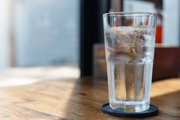 Glass of cold drinking water