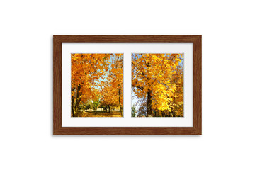 Colorful autumn. Frame mock up with two pictures collage