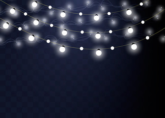 Christmas lights isolated realistic design elements. Glowing lights for Xmas Holiday cards, banners, posters, web design. Garlands decorations