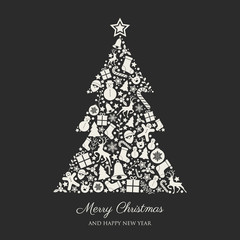 Christmas background with wishes and decorations. Vector.
