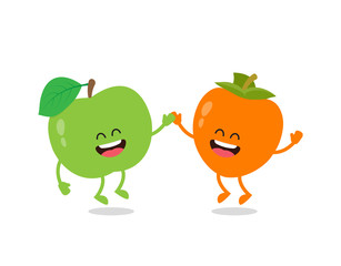 Funny an apple and the persimmon