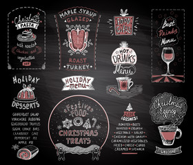 Holiday chalkboard menu set, christmas and new year classic dishes, desserts and drinks, festive food and treats